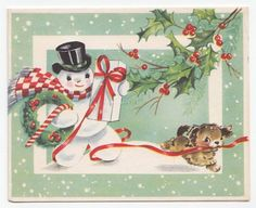Vintage Greeting Card Christmas Snowman Cute Puppy Dog