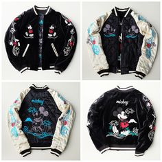 Super Rare Japanese Tokyo Disneyland Disney Character Mickey Mouse Embroidery Sukajan Souvenir Reversible Jacket - Japan Lover Me Store