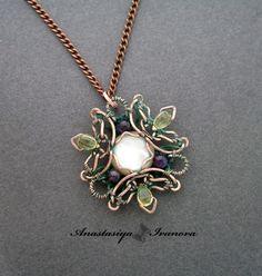 handmade: necklaces , pendants technique: wire-wrapping materials: copper, pearl, lemon quartz, amethyst size: 5*5,5 cm