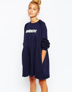 Lazy Oaf Swing Sweat Dress With Apathetic Print