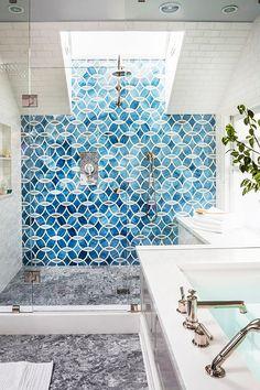 Blue shower tiles