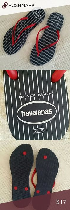 New without tags Havaianas flip flops navy red 11 New without tags, Havaianas flip flops, sandals, navy blue, white and red Havaianas Shoes Sandals