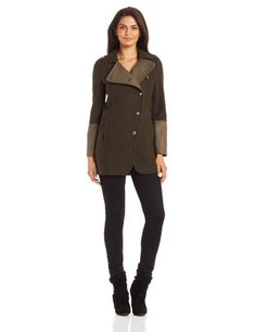 Kenneth Cole New York Women's Asymmetrical Two Tone Coat, Seaweed/Fatigue, 8   #FreedomOfArt  Join us, SUBMIT your Arts and start your Arts Store   https://playthemove.com/SignUp