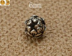 10 pcs Bali 925 Sterling Silver spacer bead,carved lotus flower,jewelry connector,Bali bead,Oxidized silver,jewelry component,6mm