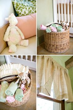 great idea with a cute basket with diapers and wrapes in the room