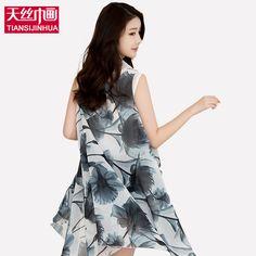 7ee95c70933b3 2017 Beach Cover Up Pareo Floral Print Silk Scarf Bikini Swimwear Women  Kimono Cardigan Chiffon Wrap Shawl Beach Sarong Dress