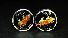 Indonesia enamelled coin cufflinks buffalo racing 21mm