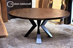 A Round Black Walnut Dining Table with Angled Steel Knee Legs - Free white glove delivery Black Round Table, Round Dinning Table, Concrete Dining Table, Walnut Dining Table, Wooden Dining Tables, Modern Table Legs, Metal Table Legs, Modern Bench, Metal Furniture