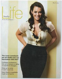 """""""Laura Wells: 36E bust, 32 inch waist, 42 inch hips, plus size beauty."""" I just wanna know when this became 'plus-sized'. She looks fantastic and her waist is sooo small, her hips are amazing! I just don't see the 'plus' in her size..."""