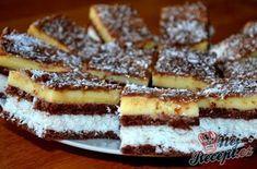 Vynikající kokosové řezy s čokoládou Sweets Cake, Christmas Sweets, Graham Crackers, Pasta Dishes, Coco, Sweet Recipes, Waffles, French Toast, Cheesecake