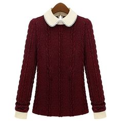 New Peter Pan Collar Wine Red Winter Sweater ❤ liked on Polyvore