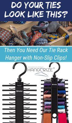 Tie Rack Hanger with Non-Slip Clips – Hanger closet Tie Storage, Corner Storage, Wall Storage, Closet Storage, Tie Organization, Small Space Organization, Bedroom Organization, Hanger Hooks, Hangers