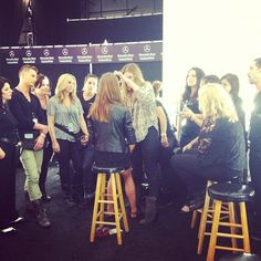 Backstage at @rebeccaminkoff the Stila team gets a demo from lead artist Sara Lucero. #NYFW