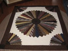 A quilt made with all of his old neck ties! One for me, one for Moma, and one for Fish by Sharon Gregg Correll Old Neck Ties, Old Ties, Quilting Projects, Quilting Designs, Sewing Projects, Dresden Quilt, Dresden Plate, Necktie Quilt, Tie Crafts