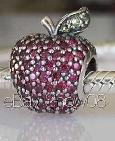 PANDORA Disney Park Apple with Fancy Pavé Charm Bead New 2015 Authentic  #Pandora #European