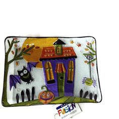 Demdaco Fused Glass Halloween House Serving Platter - Mirranme