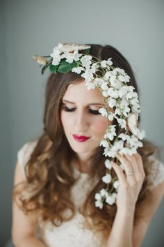 Waterfall Floral Headpiece Flower Headpiece by WeddingsByTrinity Flower Headpiece, Circlet, White Hair, Design Tutorials, Burlesque, White Flowers, Hair Clips, Waterfall, Bridal