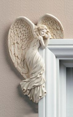 SHOP GUARDIAN ANGELS HERE! - Unique Angel Left Corner Angel. Adds a delightful touch to any room. Can be placed on a door or mirror corner. *** Order Online or Call: 1-800-417-9872 Today! ***