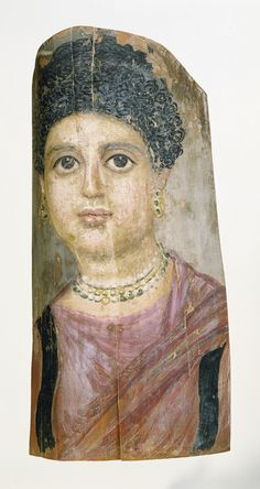 Mummy Portrait; Attributed to Malibu Painter (Romano-Egyptian, active 75 - 100); Egypt; 75 - 100; Encaustic on wood; 40 x 20 x 0.2 cm (15 3/4 x 7 7/8 x 1/16 in.); 73.AP.91