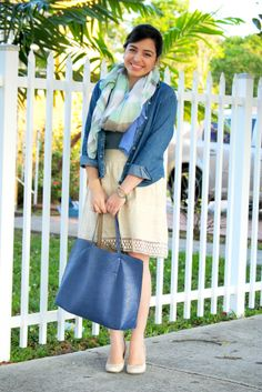 beige and blue spring work outfit