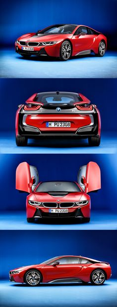 """Featuring an entirely exclusive paint color and unique interior upholstery and trim, the 2016 BMW """"Protonic Red"""" edition will only be available in limited numbers, and is sure to turn heads it goes. Bmw I8 Black, Matte Black Bmw, Automotive Photography, Car Photography, Automobile, Bmw Classic Cars, Rims For Cars, New Sports Cars, Sport Cars"""