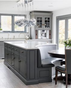 Home Interior Cocina Gray and white-top curved kitchen island.Home Interior Cocina Gray and white-top curved kitchen island Living Room Kitchen, Home Decor Kitchen, Diy Kitchen, Kitchen Ideas, Eclectic Kitchen, Kitchen Inspiration, Rustic Kitchen, Kitchen Banquette Ideas, Prep Kitchen
