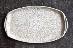 Handmade+Pottery+Tray++White+Lace++Ceramic+by+FringeandFettle,+$60.00