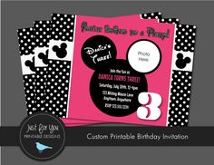 Minnie Mouse Invitation - Polka Dot - Hot Pink, Black, White - Birthday Printables by Just For You Printable Designs