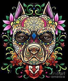 Pitbull Sugar Skull - Dias De Los Muertos Duvet Cover by Anziehend - Queen: x Sugar Skull Mädchen, Sugar Skull Artwork, Sugar Skull Wallpaper, Pitbull Tattoo, Dog Tattoos, Skull Girl Tattoo, Sugar Skull Tattoos, Tattoo Art, Los Muertos Tattoo