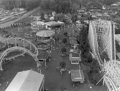 Geauga Lake 1982 - This is a view of Geauga Lake amusement park in happier days. The Big Dipper is at the right, Corkscrew at the left. (Plain Dealer file)