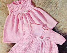 ON SALE Baby Dresses 2 styles in 4 ply for sizes 16 to 20 ins - Lotus 6032 - PDF of Vintage Knitting Patterns Sweaters And Leggings, Baby Sweaters, Dresses With Leggings, Baby Knitting Patterns, Baby Patterns, Dress With Cardigan, Knit Dress, Crochet Dresses, Wool Shop