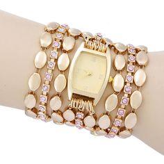 High Quality New Luxury Women Casual Watch Quartz gold Wristwatch Multilayer alloy strap Rhinestone Dress Watch clock hours