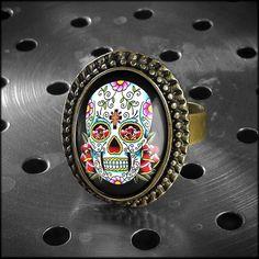 Dia De Los Muertos Day of the Dead Skull Bronze Ring for sale by Kasket Kustoms at MoreThanHorror.com