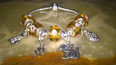 Happy easter! easter silver & murano glass charm bracelet! by PetitechicboutiqueGB on Etsy