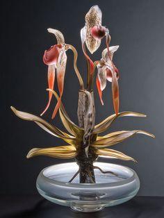 Glass, Debora Moore, Artist, Phragmapedium - Plant Series, blown and… Art Of Glass, Glass Artwork, Stained Glass Art, Cut Glass, Murano Glass, Glass Vase, Glass Ceramic, Modern Glass, Hand Blown Glass