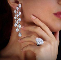 Fancy Shape Diamond Chandelier Earrings and Oval Eiffel Ring Diamond Chandelier Earrings, Ring Earrings, Aquamarine Jewelry, Ring Verlobung, Luxury Jewelry, Fashion Jewelry, Fashion Shoes, Fine Jewelry, Jewelry Design