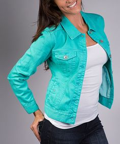 This Liverpool Jeans Company Mosaic Turquoise Denim Jacket by Liverpool Jeans Company is perfect! #zulilyfinds