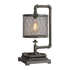 You'll add a whimsical touch to your decor with this industrial pipe accent lamp. This unique Industrial inspired lamp uses old iron pipes finished in a rust Vintage Industrial Decor, Industrial Lighting, Industrial Style, Industrial Pipe, Industrial Furniture, Luxury Furniture, Recycled Furniture, Industrial Design, Industrial Closet