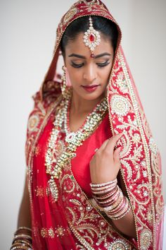 Beautiful Indian Bride in a Traditional Red Lengha