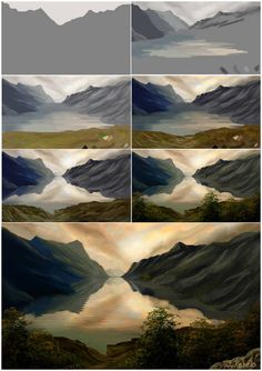 t_w_m walkthrough by on DeviantArt - Represa. by Informationen zu t_w_m walkthrough by on DeviantArt Pin Sie können m - Concept Art Tutorial, Digital Art Tutorial, Digital Painting Tutorials, Art Tutorials, Digital Paintings, Acrylic Paintings, Fantasy Landscape, Landscape Art, Landscape Paintings