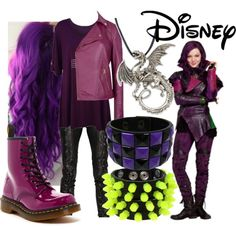 Descendants - Mal by flopy98 on Polyvore featuring WearAll, Ted Baker, A.F. Vandevorst, Dr. Martens, Mia Bag, Disney and disney