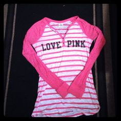 PINK long sleeved shirt Pink striped with PINK written across the chest PINK Victoria's Secret Tops Tees - Long Sleeve