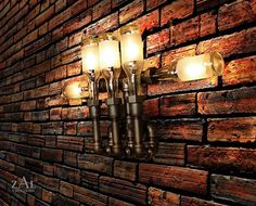 Wall lamp made from beer bottles and plumbing fixtures.