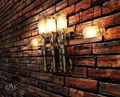 Wall Lamp. Beer bottles. Plumbing pipe & fittings. Wall light. Lighting Fixture. Sconce.. $375.00, via Etsy.