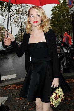 Emma Stone attends the Miu Miu show at Paris Fashion Week on Oct. 3, 2012. See more celebs on Wonderwall. http://on-msn.com/PSVNIX