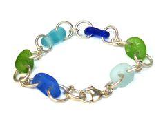 Bingo, Link Bracelets, Sea Glass, Cobalt, Turquoise Bracelet, Beach, Color, Jewelry, Ideas