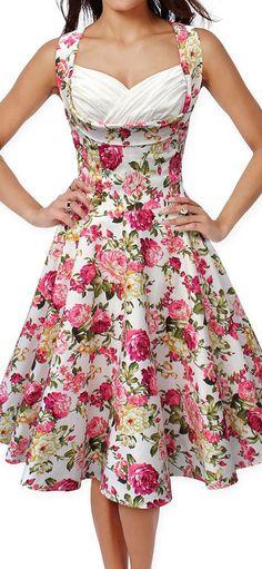 white Floral vintage dress