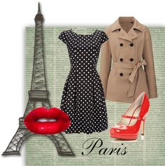 To complete: tan trench coat, red pumps