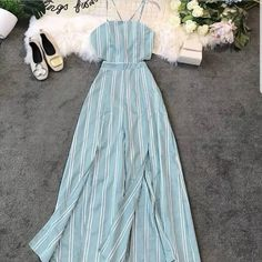 Make a statement in your new vacay inspired striped style split jumpsuit Price 1950 INR Shipping extra Free Size To order Dm or Whatsapp us at Fall Fashion Outfits, Look Fashion, Trendy Outfits, Fashion Dresses, Dress Outfits, Casual Dresses, Girl Outfits, Sunmer Dresses, Estilo Kylie Jenner