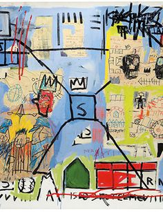 Untitled, 1981 (detail). Acrylic, marker, paper collage, oil, paintstick, and crayon on canvas 48 1/2 x 62 inches (123 x 157.5 cm) The Schorr Family Collection © The Estate of Jean-­-Michel Basquiat / ADAGP, Paris / ARS, New York 2014 Photo by Kent Pell.